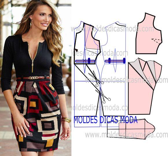 Analise o desenho da transformação do molde de vestido com saia estampada para poder fazer a leitura de forma correta e assim simplificar o seu trabalho.