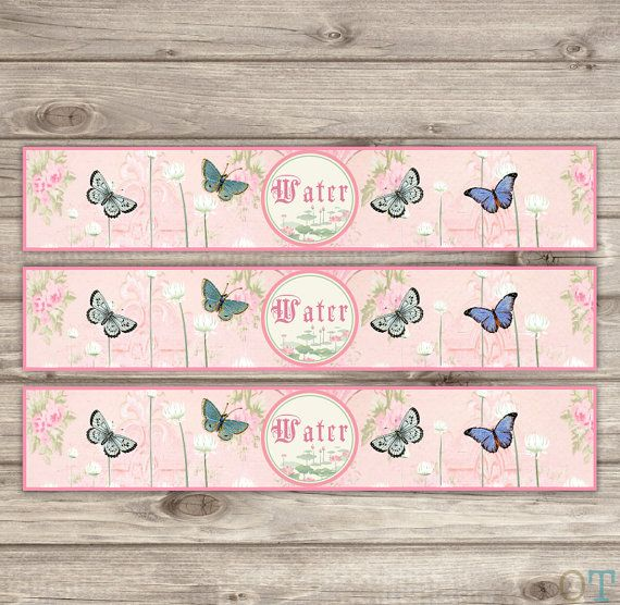 Butterfly Water Bottle Labels Fairy Food Labels Princess ...