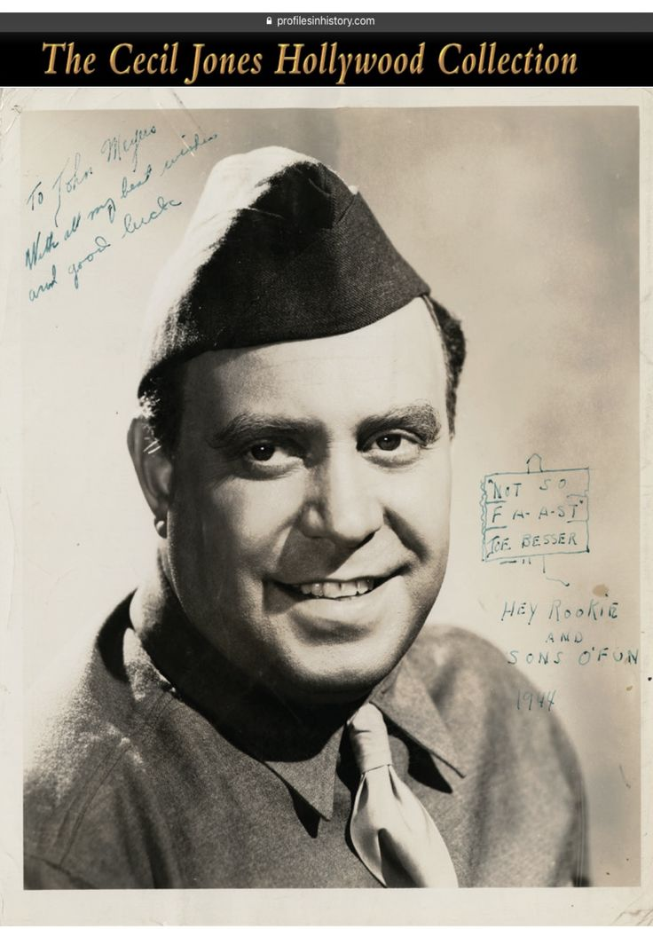 """Joe Besser - [The Three Stooges] Scarce signed photograph by Walters. (1944) Vintage original gelatin silver ~8 x 10 in. photograph of Joe Besser in a military uniform by Walters and has inscribed and signed, """"To John Meyers with all my best wishes and good luck Not so FA-A-ST Joe Besser Hey Rookie and Sons O'Fun 1944""""."""