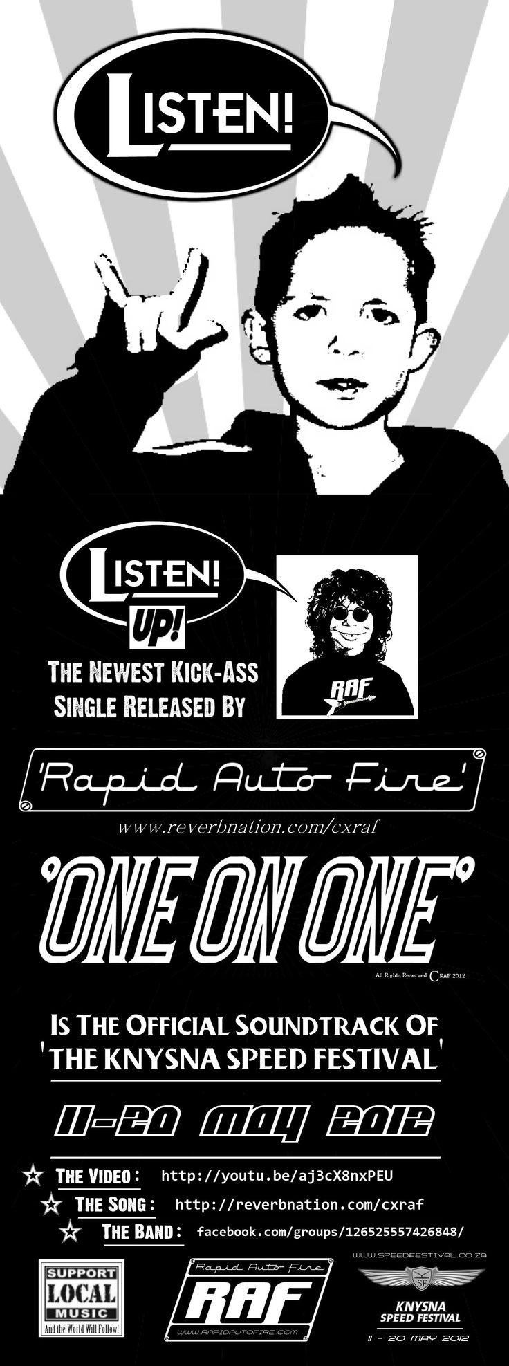 Concept & design: MOFO Graphic Rock. Flyer advertising a single released by the band R.A.F. (Client: R.A.F.)