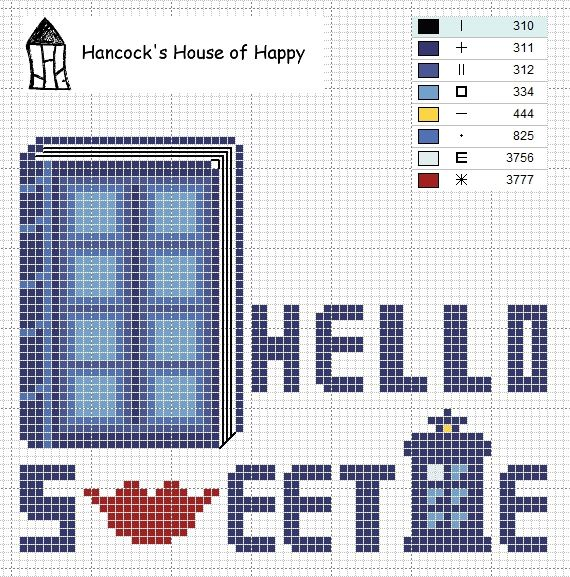 hancock's house of happy: Hello Sweetie: River Song Cross Stitch Sampler Chart