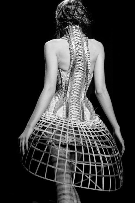 Gautier dress which combines elements of crinoline, corset, spine, and birdcage.