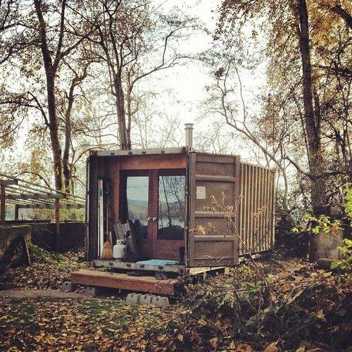 Container Cabin #weekendcabin from: http://notlostjustexploring.com/