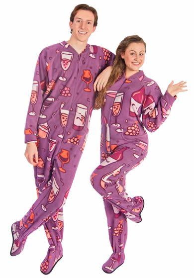 Footie Pajamas for Wine Lovers Fleece Drop Seat