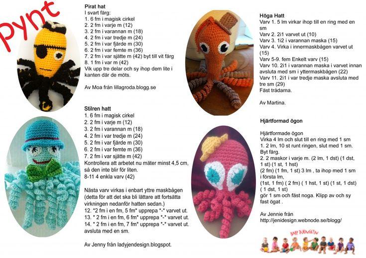 Mönsterark till virka bläckfisk med fint accessories. Bläckfiskerna är till för tidigt födda barn på vissa neonatal avdelningar i Sverige