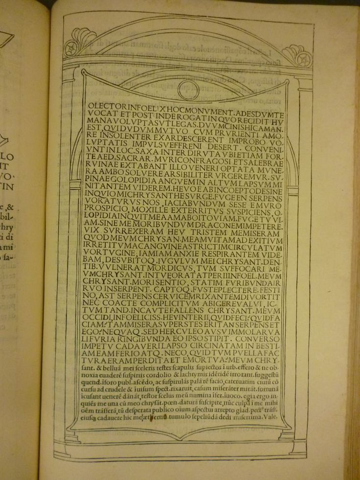 Epigraphic tablet, from Hypnerotomachia Poliphili. Aldi Manutii: Venetiis, 1499 Venice
