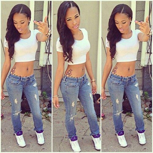 Pretty Girl Swag Dope Denim Blue Jeans White Crop Top Jordan Fashion Style Beauty Caramel Lightie Hot Hood Outfit