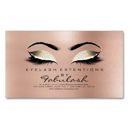 Beauty Salon Gold Glitter Adress Makeup Lashes Magnetic Business Card - glitter glamour brilliance sparkle design idea diy elegant