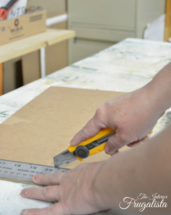 Hardboard cut with an exacto knife for the back of chalkboard picture frames|The Interior Frugalista