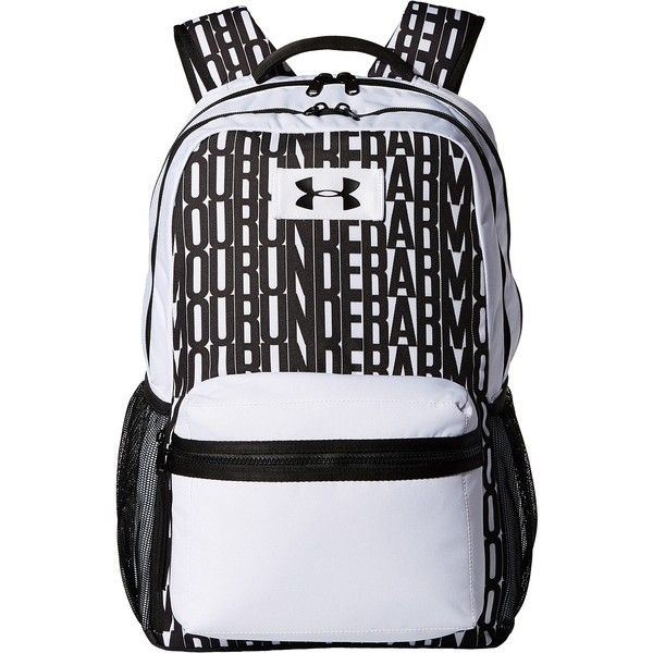 Under Armour UA Watch Me Backpack (White/Black/Black) Backpack Bags ($45) ❤ liked on Polyvore featuring bags, backpacks, white, padded bag, black white bag, water resistant backpack, backpacks bags and black and white bag