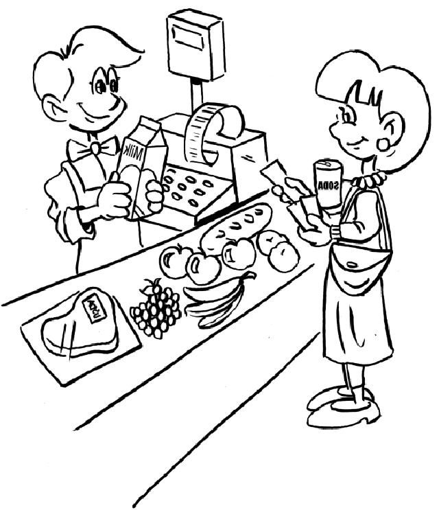 Grocery Cashier Jobs Coloring Page Coloring Pages Pokemon