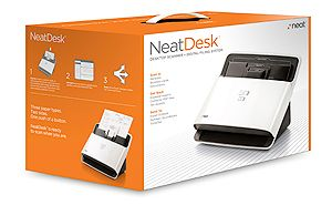 NeatDesk scanner and digital filing system.  Scan receipts, business cards and documents.  Exports data to Excel®, Quicken®, QuickBooks®, TurboTax®.  Accepted by the IRS!