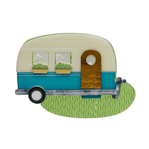 """Erstwilder Limited Edition Happy Glamper Brooch. """"This most mobile of homes provides comfort wherever it may be you roam."""""""