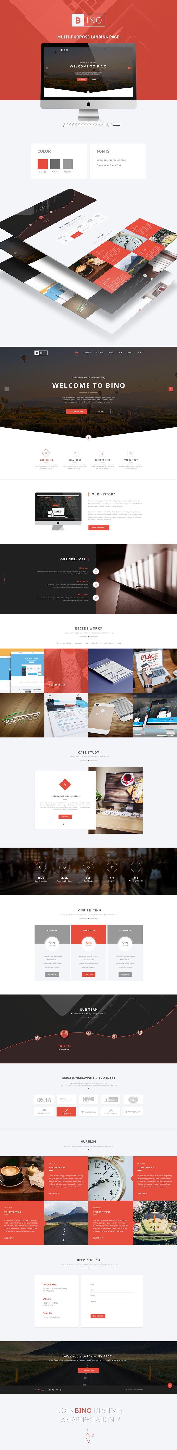 Freebie | Bino Landing Page PSD Template on Behance