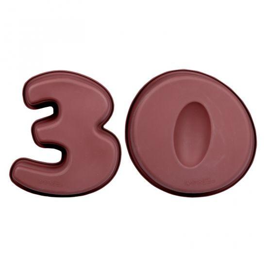 Leeftijd taart bakvormen 30. Bakvormen in de vorm van het cijfer 30. De bakvormen zijn van siliconen materiaal, uw gebak blijft niet kleven als u het uit de vorm haalt. Oven- en vaatwasmachinebestendig. De bakvormen zijn ongeveer 25 cm lang, 20 cm breed en 6 cm diep per stuk.