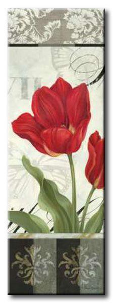 GlA_525_Etude en Rouge Panel I / Cuadro Flores, Panel Vintage con Flor Roja