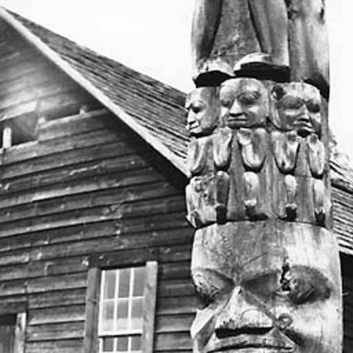 Gitksan totem pole (close view), Kitanmox, British Columbia, 1909 :: American Indians of the Pacific Northwest -- Image Portion