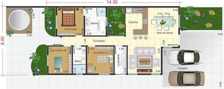 Plano de casa con amplio garaje. Plano para terreno 10x25