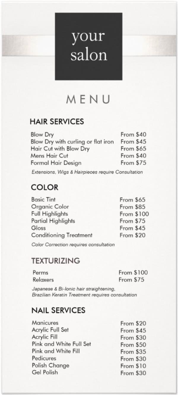 39 Hair Salon Services Your Salon Menu Price List Must Include Beauty Salon Price List Salon Price List Salon Services