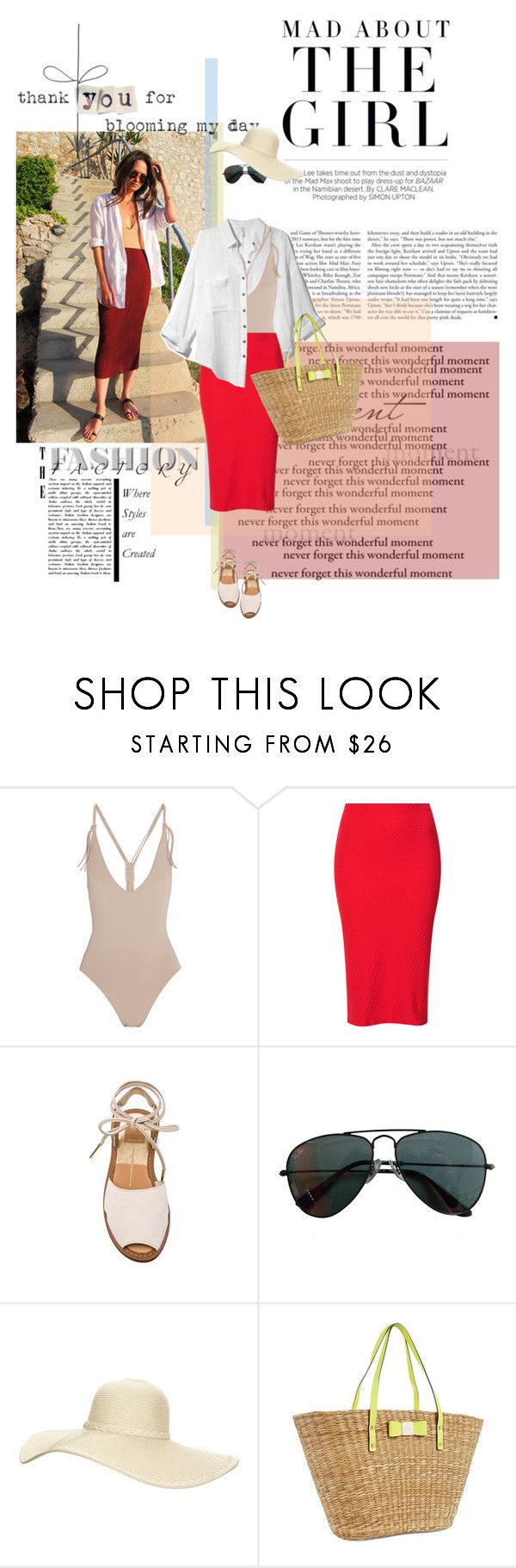 """""""855. Columbine Smille - Longing summer"""" by love133love ❤ liked on Polyvore featuring Kershaw, Free People, Eres, Topshop, Dolce Vita, Ray-Ban, Reger by Janet Reger and Kate Spade"""