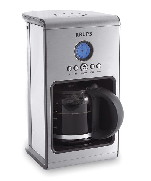 The Krups Coffee Machine KM1000 ($90) is very simple to program, and brews up to 10 cups of good-quality java. Testers gave it high scores for appearance and were particularly taken with the illuminated LCD analog clock and sleek lines. It will keep coffee hot for two hours before automatically turning off. (krupsusa.com)  - GoodHousekeeping.com