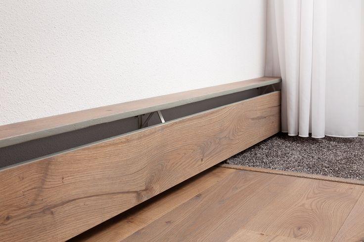 Plintverwarming / radiator voor als bijverwarming. Verkrijgbaar in diverse lengtes en af te werken met hout, steen of verkrijgbaar in metaal in iedere RAL-kleur