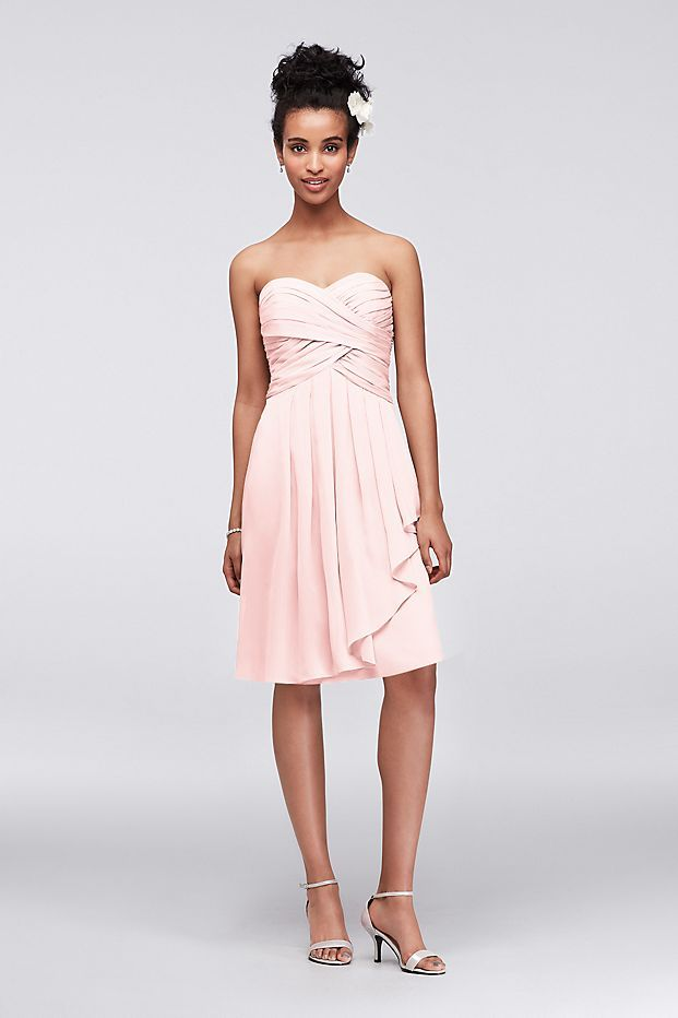 4c16352daa92a Short Crinkle Chiffon Dress with Front Cascade Style F14847, Apple, 2