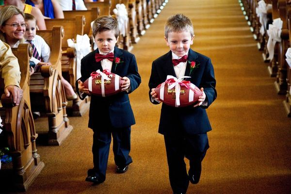 Ring bearers carrying a football instead of a pillow??? This might help get the job done for Lukey and Jamesy!! Lol