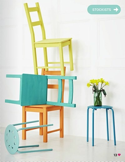 We're seeing great pops of color like these Chalk Paint® decorative paint chairs featured in Heart Home mag! The English Yellow color (top) is a color currently available abroad and coming to OUR shores soon!