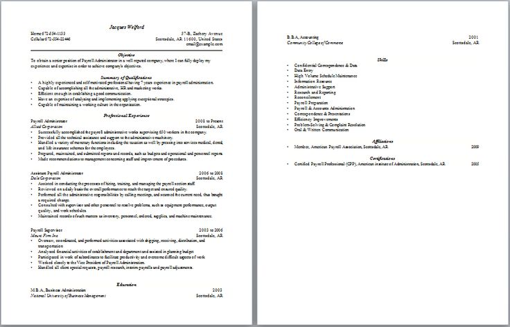 Payroll Administration Resume Administrative Resume Samples - barista job description resume