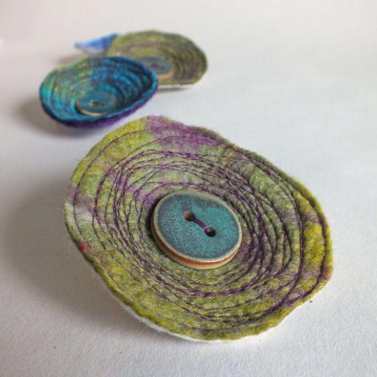 Felt Wool Brooch Pin with ceramic button by thatfuzzyfeelingetsy, £9.00