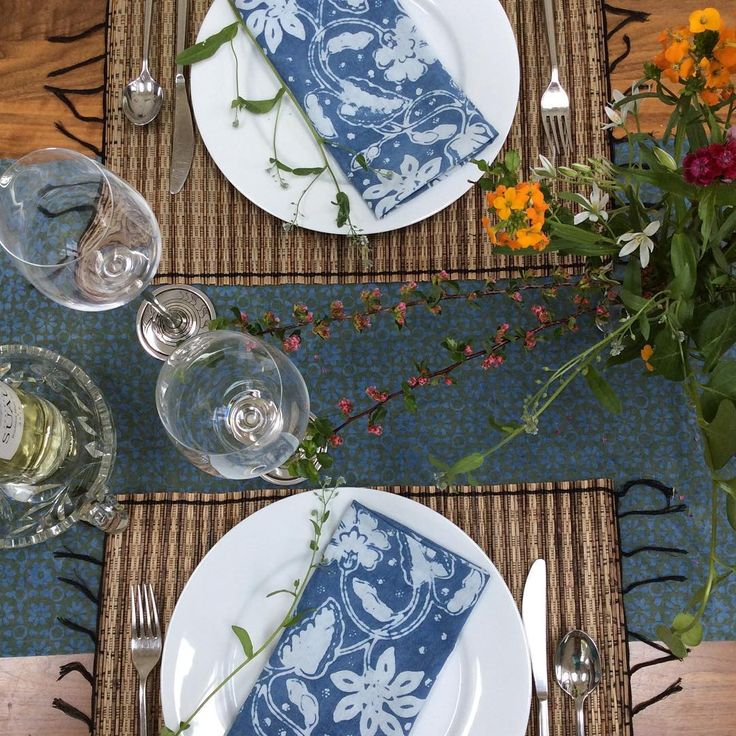 More napkins! These are natural indigo dye block batik in our Sky Garden motif. Paired with our indigo dye block batik Woodland runner. #batik #napkins #tablescape