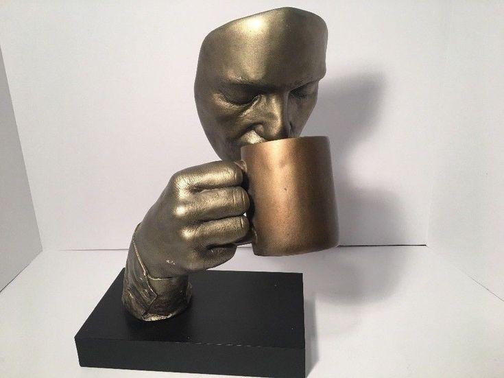 "Vtg John Cutrone First Cup Coffee Statue Austin Sculpture 14"" 1995 Rare Heavy #ArtDeco"