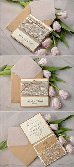 Rustic Twine Pocket Fold Eco Linen Lace Wedding Invitation - Deer Pearl Flowers