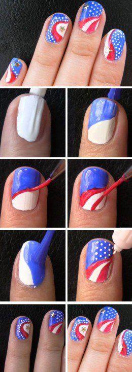 Captain America Nail Art Design | Easy DIY 4th of July Nail Art Designs for Short Nails