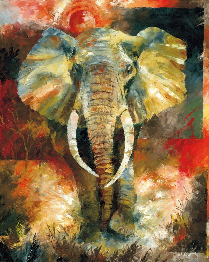 Elephant art wildlife african elephant art painting by for Black painting ideas