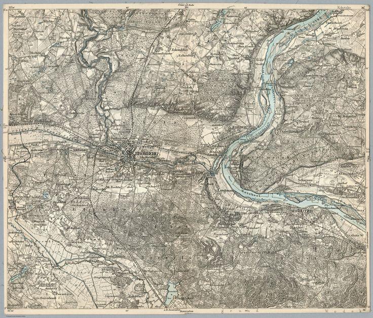 Mapa Bydgoszczy i okolic ca.1890 rok