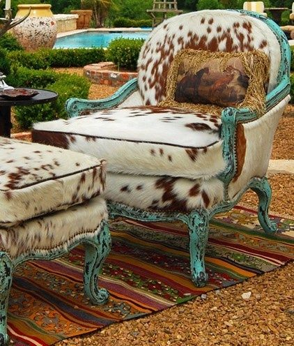 Turquoise Western Living Room Turquoise And Cowhide