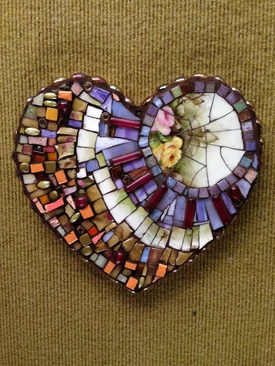 Mosaic glass art - Shelly Armas drove down from Glenwood Springs to join my studio class and create this beautiful heart, at Susan Wechsler studio