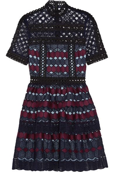 Black, navy and maroon guipure lace Zip fastening along back 100% polyester Dry clean