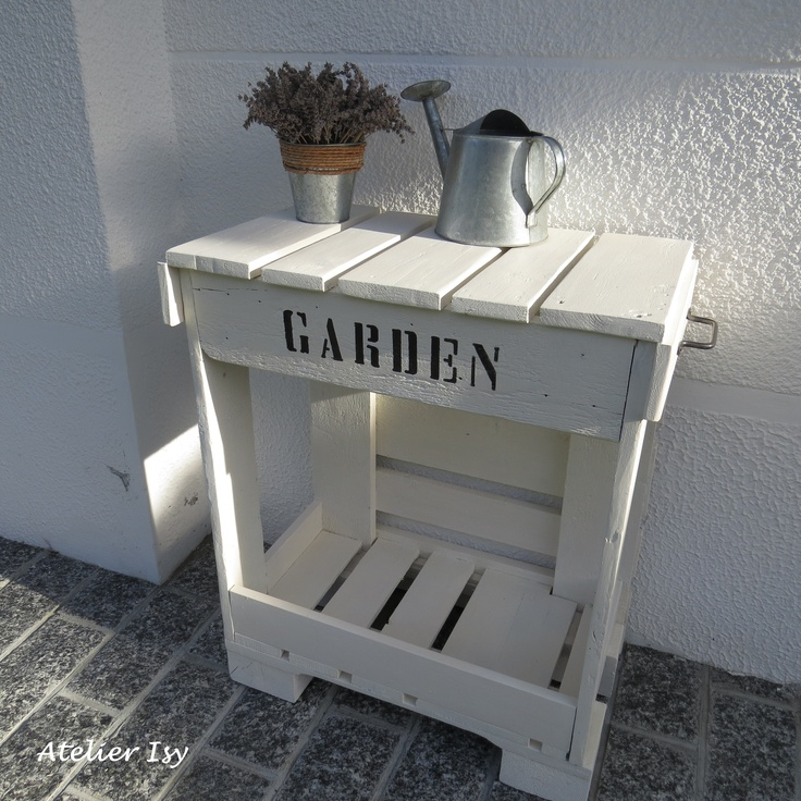 17 best images about diy with pallets crates hout for Mobiletto giardino