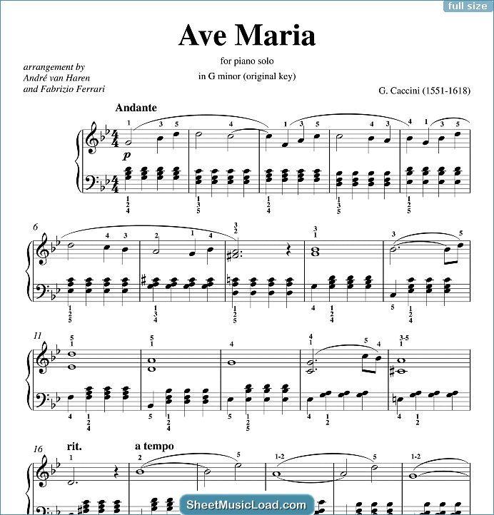 Ave Maria Sheet Music For Piano Solo By Giulio Caccini