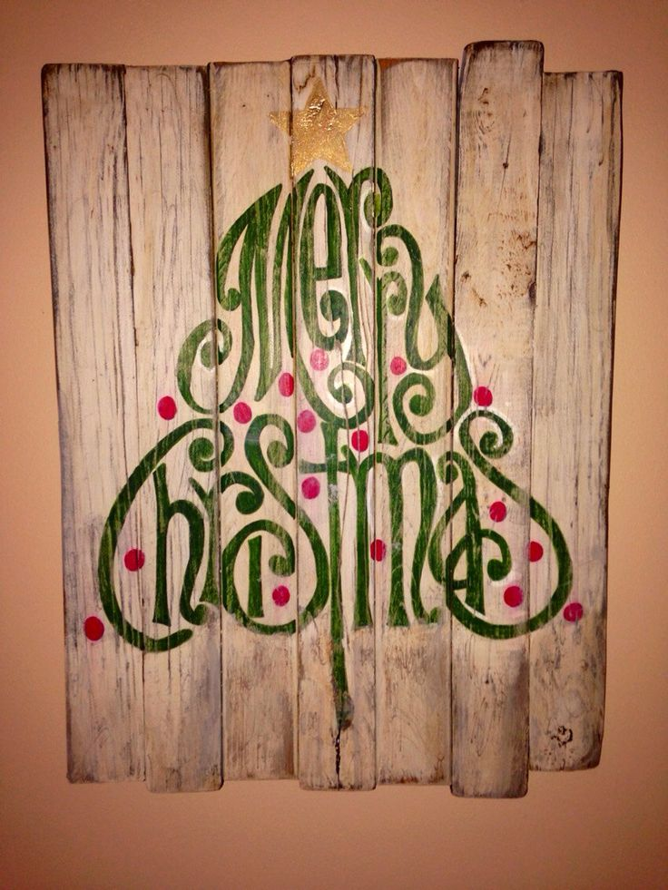Rustic wood christmas sign merry decoration