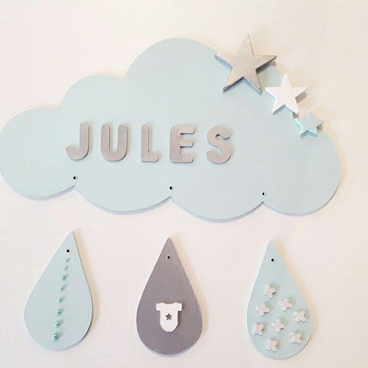 Plaque de porte nuage Jules. Demandez votre personnalisation à bebeetconfidences@hotmail.com