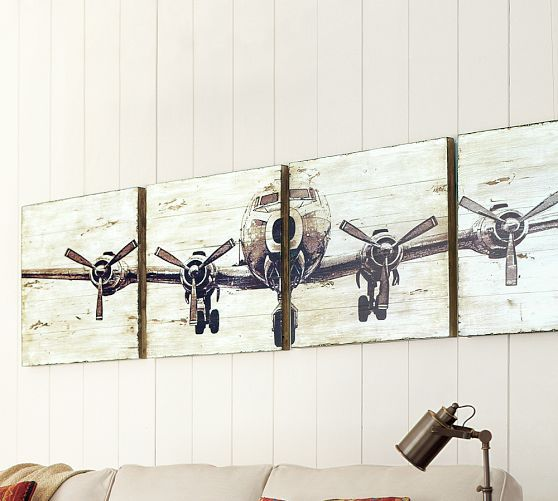Planked Airplane Panels, Set of 4 Cute for a boys room!