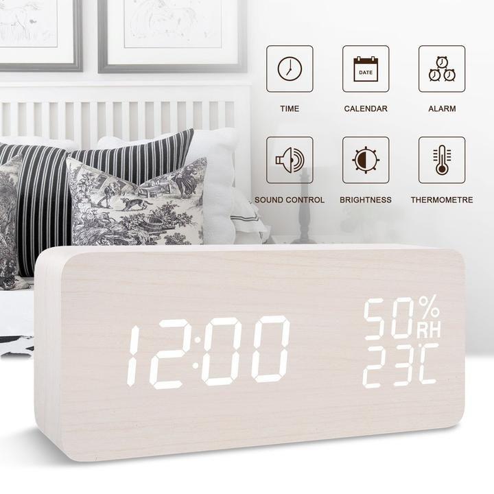 Smart Wooden Digital Clock Trend Inventors Modern Alarm Clock