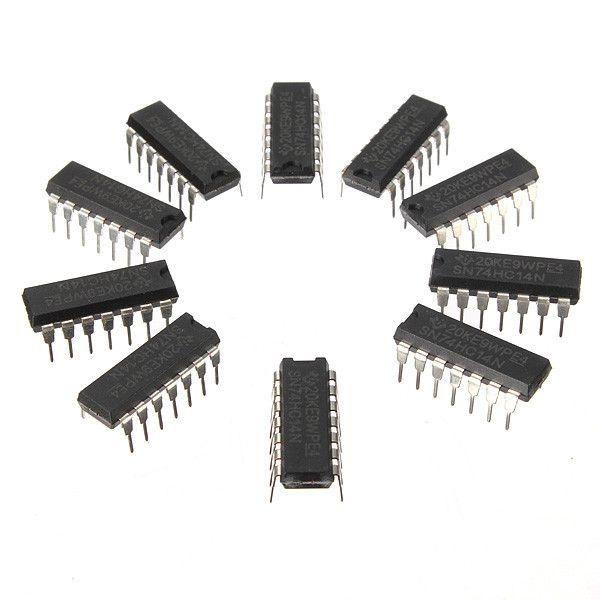 10pcs Sn74hc14n 74hc14 Ic Chip Dip-14 Six Inverting Schmitt Trigger. 10Pcs SN74HC14N 74HC14 IC Chip DIP-14 Six Inverting Schmitt Trigger  Features:  Six Schmitt Inverter High speed CMOS Weight: 10g Size: 1.8 x 0.8 x 0.8 cm (L x W x H)  Package included:  10 x SN74HC14N IC Chip