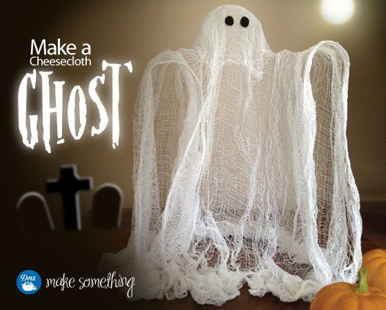Boo! Great tutorial to make a Halloween Cheesecloth Ghost from Dritz. (Dritz makes cheesecloth.)