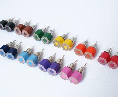 Colored Pencil Ear Studs