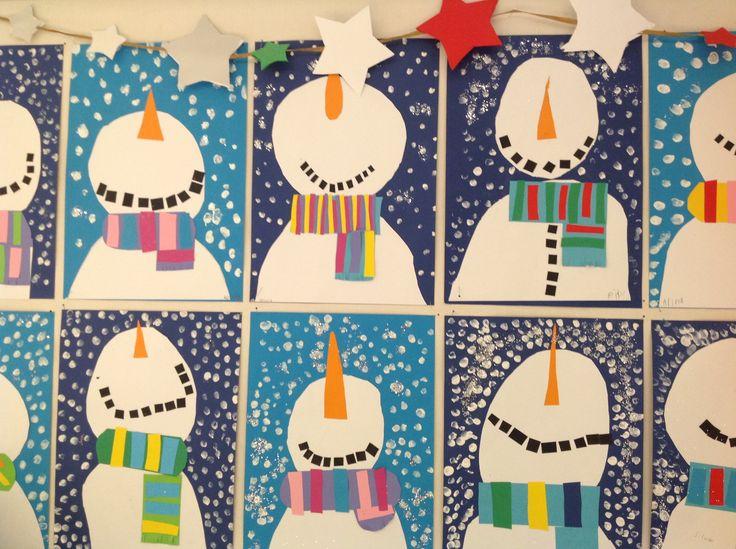 Lumiukko 1.lk Askartelua kartongista, lumi peitevärillä